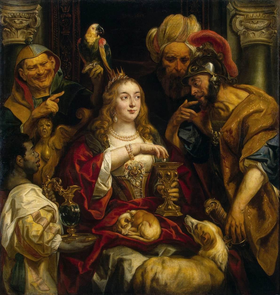 Il banchetto di Cleopatra Jacob Jordaens la leggenda delle perle