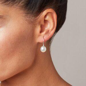 Genisi pearls - Orecchini ad amo con diamanti e perle d'acqua dolce a goccia - GP_028_I