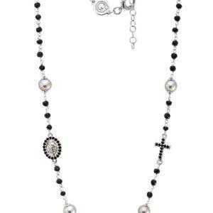 Rosario classico con perla Tahiti e spinelli
