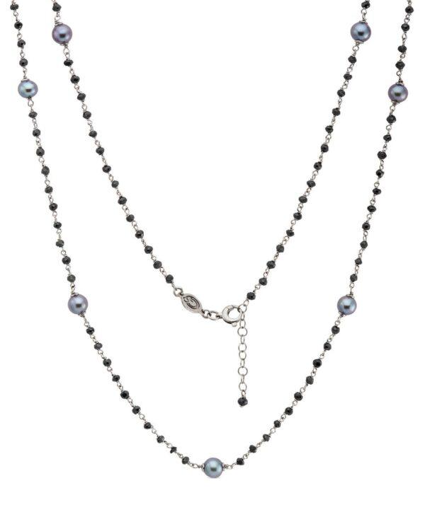"""Collana Rosario """"Chanel"""" con perle nere Genisi Pearls"""