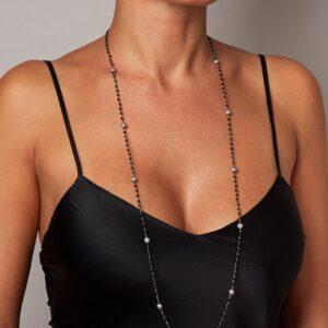 """Rosario """"Chanel"""" con perle grigie"""
