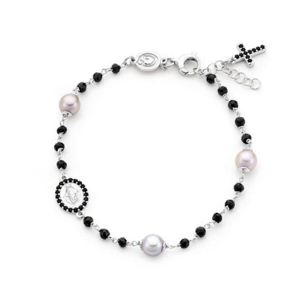 Bracciale con perle grigie e spinelli su argento 925‰. Gradevole combinazione di chiaro-scuri di perle e spinelli Genisi Pearls