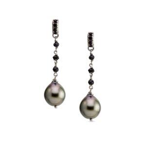 Orecchini rosario con perle Tahiti e spinelli