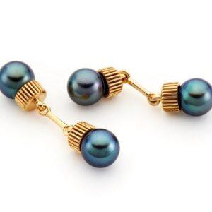 Gemelli da polso unisex con perle nere_Genisi Pearls