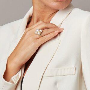 Genisi pearls - Anello con grappolo di perle bianche - GP_176