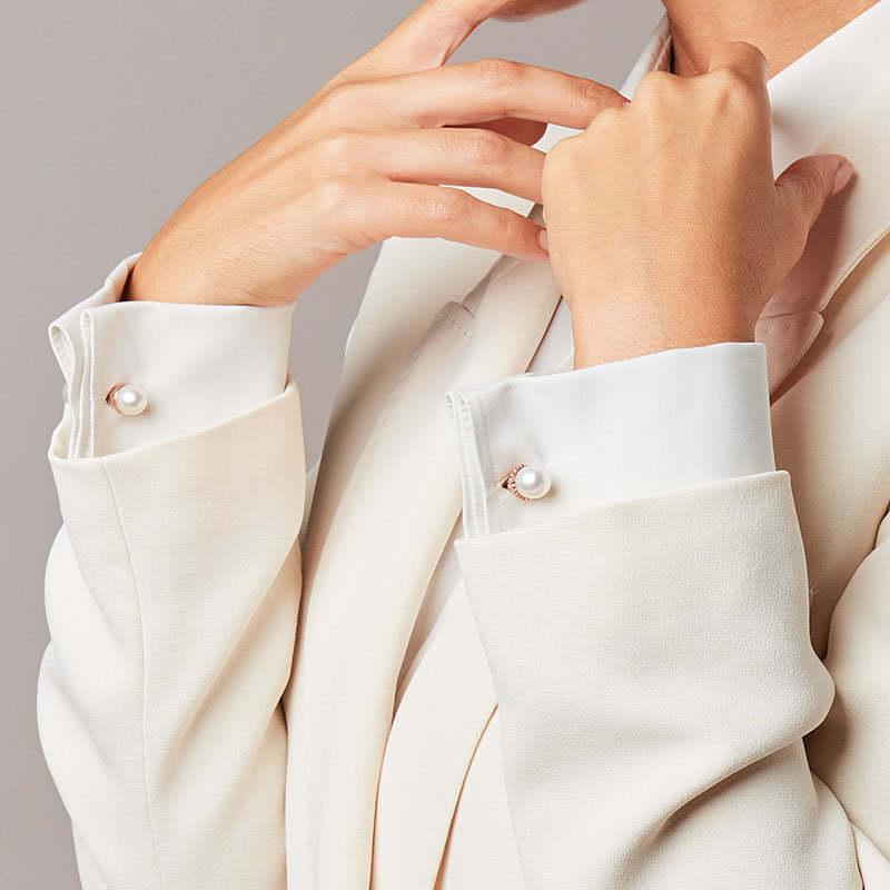Gemelli da polso unisex con perle bianche Genisi Pearls