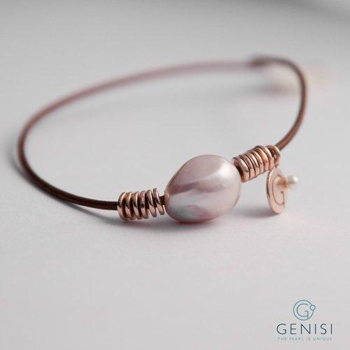 Bracciale Unisex con perla coltivata tecnica naturale