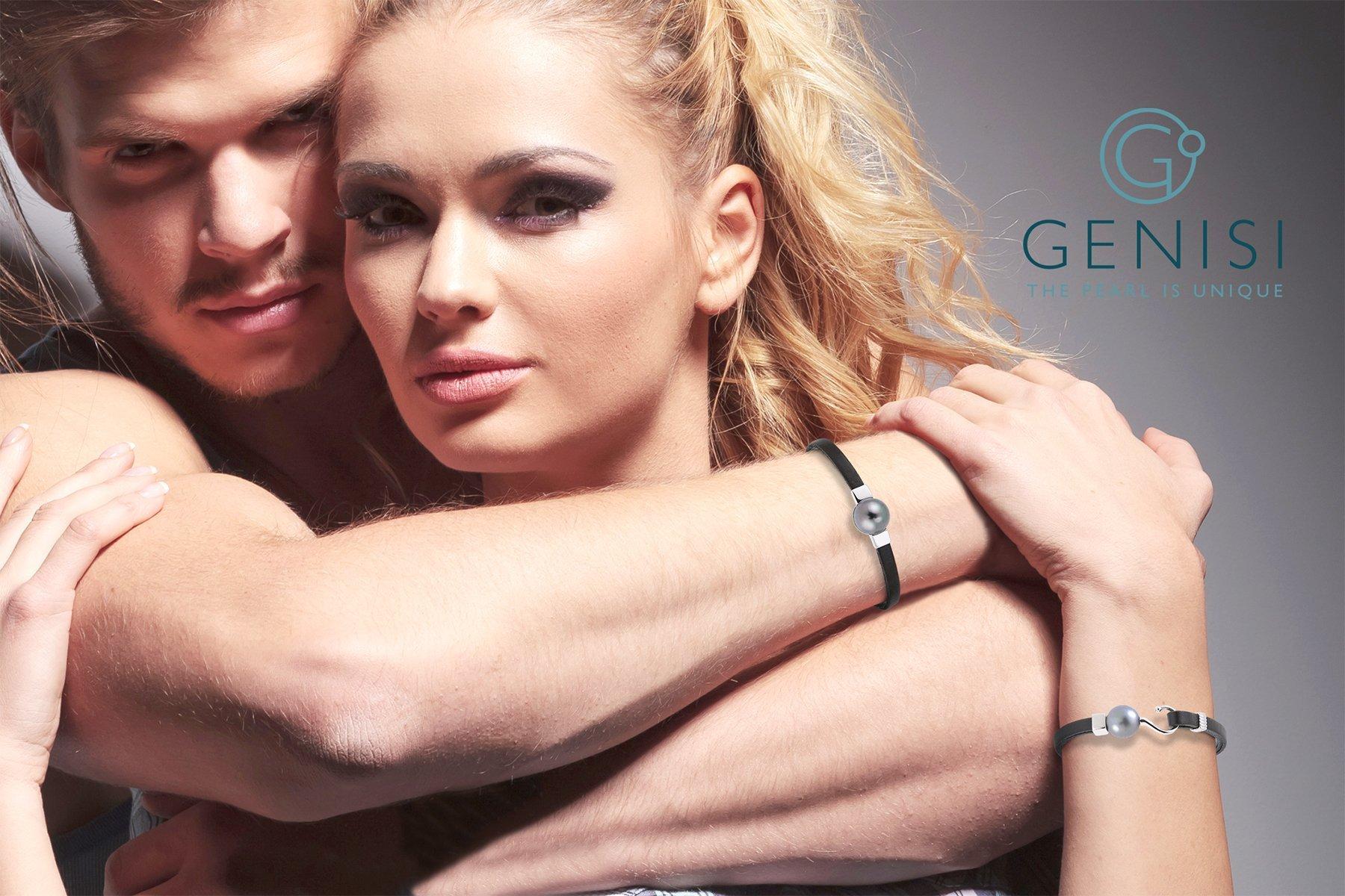 Bracciale Unisex con perla grigia e fettuccia di pelle