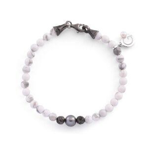 bracciale unisex con pietre dure e perle