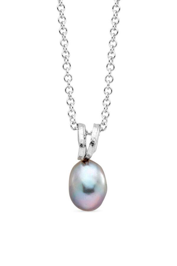 Pendente con perla barocca grigia rifinito a mano GP_138