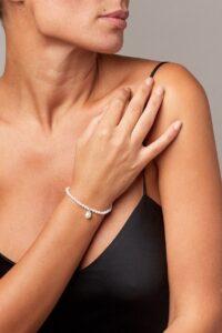 perle di fiume bracciale bianco