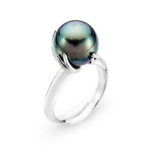 anello in argento con perla nera di tahiti
